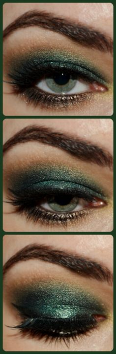 green&bronze smokey eye makeup  perfect for poision ivy make up!