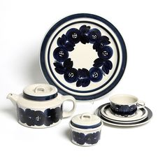 Arabia Finland ANEMONE serving plate, teapot, sugar bowl, cup and saucer, by Ulla Procopé