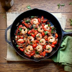 Puttanesca shrimp - great with a side of quinoa or brown rice. Use veg or chicken broth instead of the wine for #FastMetabolismDiet Phase 3.