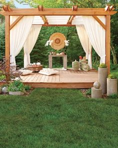 Garden design ideas - build the pergola yourself- Garten Designideen – Pergola selber bauen pergola build yourself with curtains garden design ideas decoration - Outdoor Pergola, Outdoor Rooms, Outdoor Living, Outdoor Yoga, Backyard Pergola, Outdoor Retreat, Backyard Retreat, Nice Backyard, White Pergola