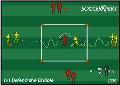 Soccer Drill Diagram: 1v1 Defending the Dribble