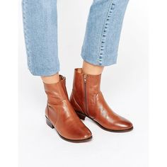 ALDO Elia Tan Leather Sock Flat Ankle Boots (340 DKK) ❤ liked on Polyvore featuring shoes, boots, ankle booties, tan, leather ankle booties, ankle boots, tan ankle booties, aldo booties and flat booties