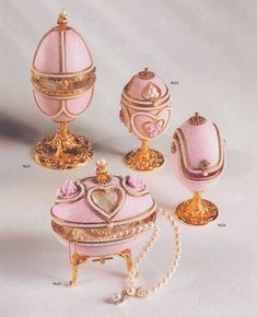 Faberge ''styled eggs''.   They make the best gifts !...Pretty but not real Faberge !