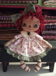 Handmade Primitive Raggedy Ann Annie Doll White by RaggedyDreams, $29.95