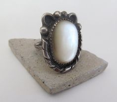Vintage Mother of Pearl Ring Sterling Silver by DesertEarthJewelry