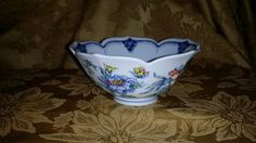 VINTAGE Marked Scalloped Blue and White Asian Bowl / Dish - Floral Design (Blue, Pink, Yellow, Green and White with Blue Trim) BEAUTIFUL! by NookHook on Etsy