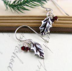 Silver Holly Earrings Silver Christmas Earrings by newhopebeading, $36.00