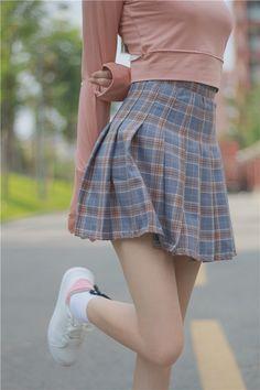 cf8b6b2da9 Harajuku Kawaii Plaid Pleated High Waist Skirt - KawaiiMart Waist Skirt,  High Waisted Skirt,