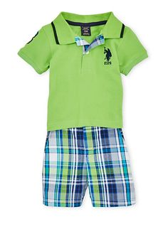 Baby Boy Polo Shirt with USPA Patch and Plaid Shorts Set