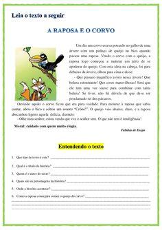 Gênero textual: Fabulas e contos Improve Writing Skills, Sunday School Kids, Learn Portuguese, Plural Nouns, Love Games, Teacher Outfits, Printable Worksheets, Hans Christian, Professor