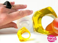 Triangle Ring Clear Silicone Mold, 1 size ring maker mold,perfect to embed flowers gems or little objects! - House Of Molds