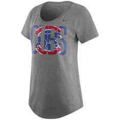 Women's Chicago Cubs Nike Gray Tri-Blend Boyfriend 1.6 T-Shirt