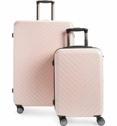 Pretty pink chevron print luggage set part of the Nordstrom Anniversary Sale! Pink Suitcase, Pink Luggage, Cute Luggage, Best Luggage, Suitcase Packing, Travel Luggage, Travel Bags, Hard Suitcase, Travel Packing