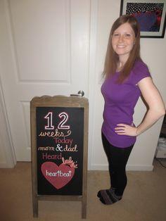 12 Weeks Pregnancy Chalkboard Weekly Pregnancy Chalkboard, Evan Williams, 12 Weeks, In A Heartbeat, T Shirts For Women