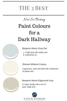 The 3 Best light, neutral and not boring paint colours for a dark hallway or stairwell by Kylie M interiors.jpg