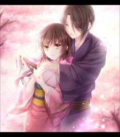 Hakuouki Shinsengumi Kitan, Hijikata Toshizou (Hakuouki), Yukimura Chizuru, Cherry Blossom, Hug From Behind