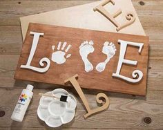 Baby Handprint & Footprint Love Wood Sign Craft…these the BEST Hand & Foot Art… Baby Handprint & Footprint Love Wood Sign Craft…these the BEST Hand & Foot Art Ideas! Kids Crafts, Crafts To Do, Wood Crafts, Craft Projects, Diy Wood, Kids Diy, Creative Crafts, Crafts With Baby, Project Ideas