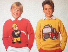 Vintage pattern, Fireman Sam Jumpers adults and childrens Knitting Patterns Baby Boy Knitting Patterns, Jumper Knitting Pattern, Knitting For Kids, Double Knitting, Knitting Yarn, Fireman Sam, Fashion Portfolio, Teenage Mutant, Mutant Ninja