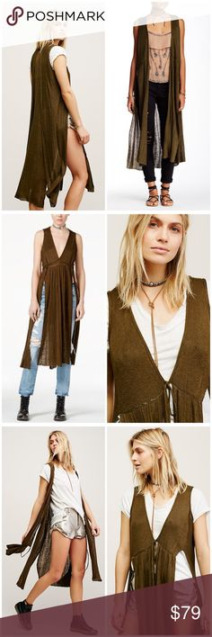 "⏰SALE⏰🎉HP🎉Free People Baja Escape wrap cardigan In a lightweight linen this sleeveless wrap cardi is featured in a maxi silhouette with exaggerated side slits. Adjustable fit and unfinished hem. 58% Linen 42% Rayon Measurements for size Small Bust: 35.0"" = 88.9 cm  
