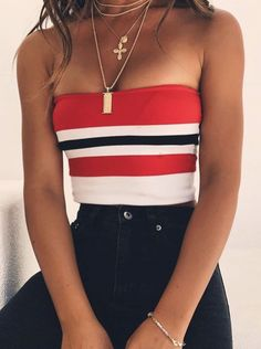 #summer #outfits / Striped Off The Shoulder Crop Top