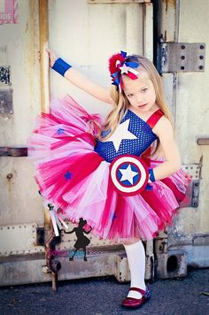 Captain America girls inspired  tutu costume in red blue and white