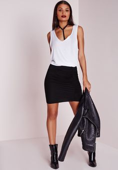 Missguided - Ruched Mini Skirt Black