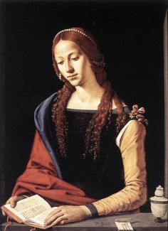 PIERO DI COSIMO - St Mary Magdalene (1490's). Tempera on panel, 72,5 x 76 cm, Galleria Nazionale d'Arte Antica, Rome.