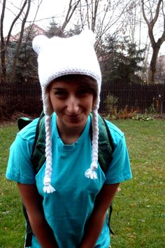 Finn the Human crochet hat