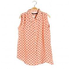 Sleeveness Small Polka Dots Shirts