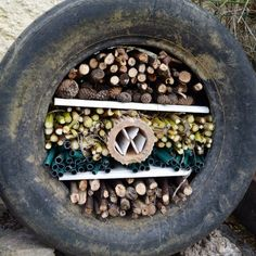 How to make a recycled tyre bug hotel (post sponsored by Volkswagen) · vicky myers creationsCreate your own recycled tyre bug hotel. Learn how to make an easy bug hotel with an old tyre, and ,materials from aound your garden. Step by step tutorial. Tire Garden, Garden Bugs, Bug Hotel, Permaculture, Sensory Garden, Preschool Garden, Sensory Play, Tyres Recycle, Recycled Garden