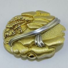 Henry Dunay 18k Yellow Gold & Plat. Belt Buckle.......