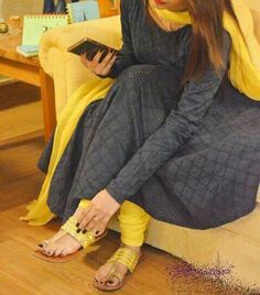 Hoolowdd out grey anarkali with a twist of yellow Indian Suits, Indian Attire, Indian Ethnic Wear, Indian Style, Pakistani Dresses, Indian Dresses, Simple Dresses, Casual Dresses, Casual Wear