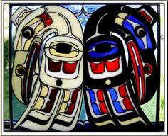Pacific Northwest Coast Ravens Custom Stained Glass Suncatcher Panel