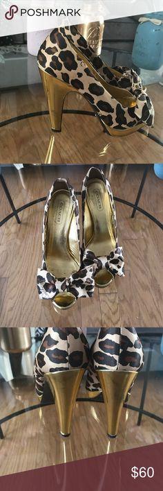 Coach leopard print heels Great condition! Coach Shoes Heels