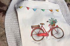 Bolsa de tela 100% algodón pintada a mano. Bicicleta roja estilo vintage.