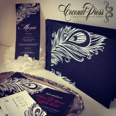 Custom Peacock Feather Themed Wedding Invitations, RSVP, Menu, and Screen Printed Guest Book by Coconut Press