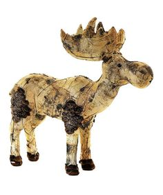 Love this Jaques the Moose Figurine  Festoon the interior with the winter charm of this friendly moose.   15'' W Jute burlap / grapevine