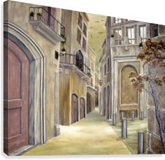 Town Alley Wood Print by Faye Anastasopoulou. All wood prints are professionally printed, packaged, and shipped within 3 - 4 business days and delivered ready-to-hang on your wall. Canvas Artwork, Canvas Prints, Art For Sale Online, Realism Art, Abandoned Houses, Contemporary Paintings, Wood Print, Fine Art America, Painting Art