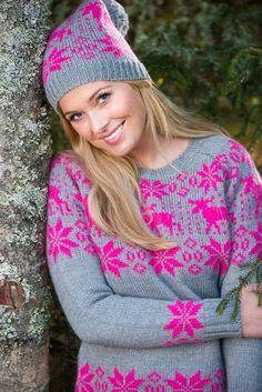 Barfota Trysil strikket lue, grå/rosa