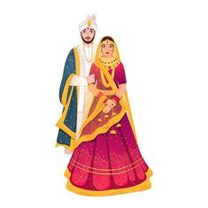 Bride And Groom Cartoon, Wedding Couple Cartoon, Indian Wedding Couple, Cute Couple Cartoon, Indian Bride And Groom, Bride Groom, Indian Illustration, Wedding Illustration, Couple Illustration