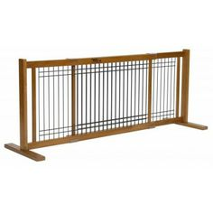 Dog gate for wide spaces is affordable and attractive AND Made in the USA !