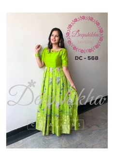 DC - Beautiful yellow color floor length dress with floral print. For queries kindly WhatsApp : 9059683293 12 November 2018 Kids Blouse Designs, Dress Neck Designs, Long Gown Dress, Saree Dress, Kurti Designs Party Wear, Lehenga Designs, Designer Anarkali Dresses, Designer Dresses, Long Gown Design
