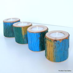 4 Rustic Candles Blue Gold Green by TheBentTreeGallery on Etsy, $32.00