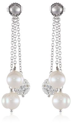 """Honora """"Pop Star"""" White Freshwater Cultured Pearl and Pave Bead Triple Dangle Earrings. Post with friction back, earring backs included. Carat weight listed is the total for all stones. The natural properties and process of pearl formation define the unique beauty of each pearl. The image may show slight differences in texture, color, size, and shape."""
