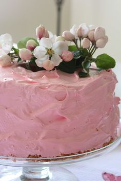 Again frost like you usually do. Adorn with flowers I would probably order some sugar flowers to adorn it.   akt    pink cake and flowers.