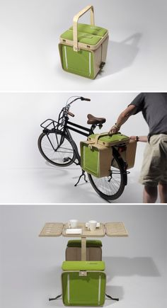 Cesta de piquenique vira mesa, banquinho e bagageiro de bicicleta
