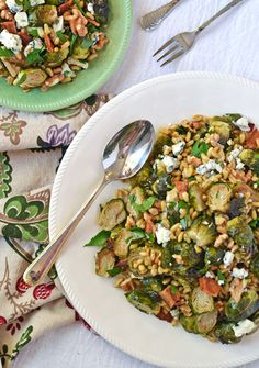 Warm Brussels Sprouts Salad with Bacon and Blue Cheese