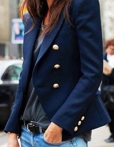 navy blazer. street style.