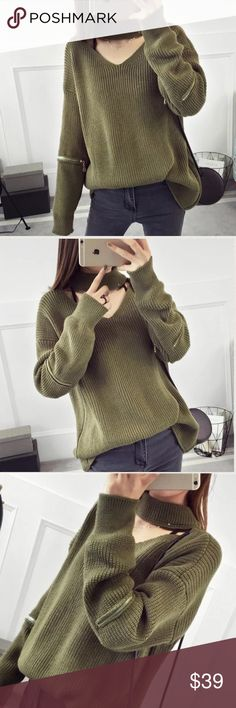 """Neck strap deco zipper sweater Zipper deco on sleeves. Material: acrylic and cotton blended Measurement: XS-M length: 20-22"""" XS-M bust: 41.3-43.3"""" around, sleeve length-18.6"""" shoulder to shoulder- 23"""". NWOT Sweaters"""