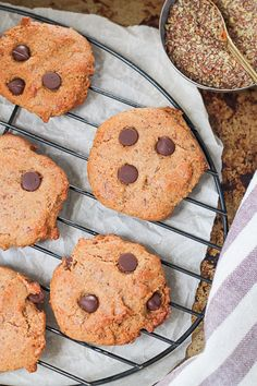 These delicious Almond Butter Flaxseed Chocolate Chip Cookies are easy to make and a great way to add fibre to your treats! Naturally sweetened with maple syrup and ripe banana which keeps these cookies soft like they just came out